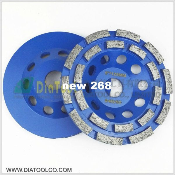 """best selling 2pcs 5"""" 125mm Diamond double row Grinding Cup Wheel for granite and hard material, bore 22.23mm with 16mm washer"""