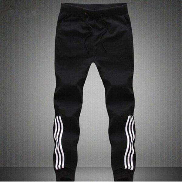 Оптовая продажа-мужские бегуны 100% хлопок тонкий материал тренировочные брюки Бегун брюки мужчины мода мужчины плюс размер серый или черный Бегун брюки