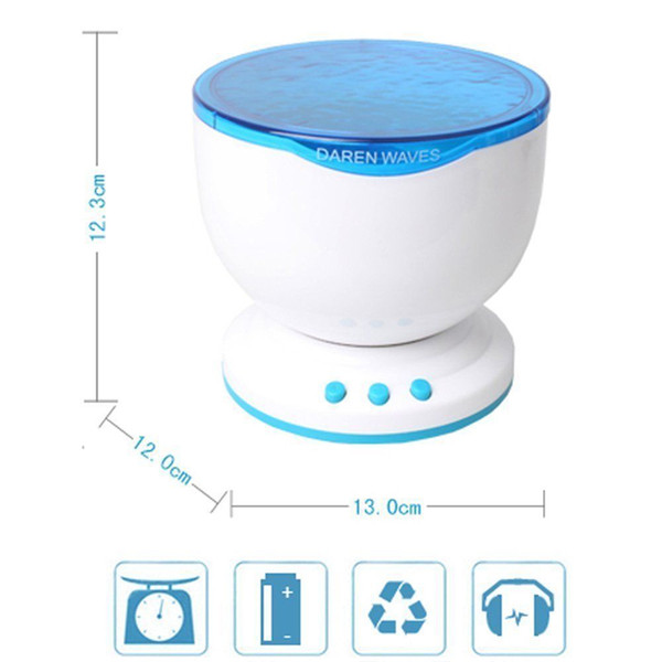 LED Night Light Projector Ocean Blue Sea Waves Projection Lamp With Mini Speaker Ocean Waves Night Light USB Powered Or Battery Powered
