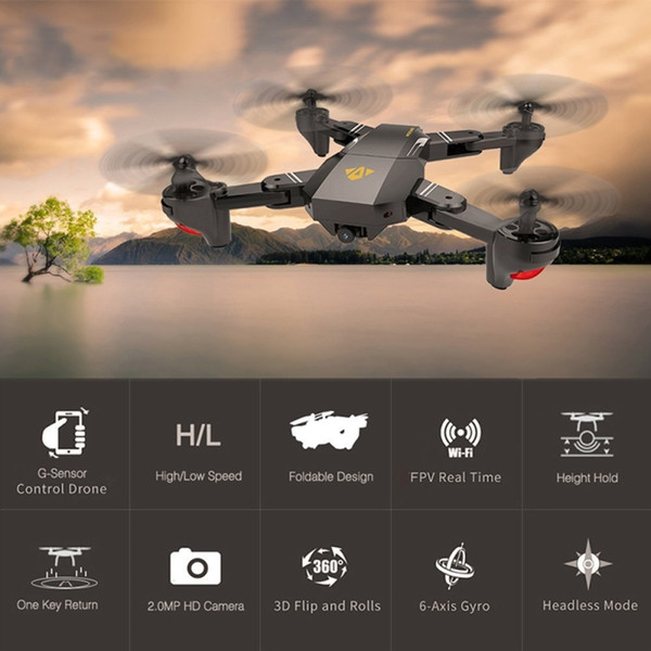 RC Visuo XS809HW 2.4G Hovering Corrida de Helicóptero RC Drones Com Câmera de 2MP HD Zangão FPV Quadcopter Aeronave Fotografia Profissional