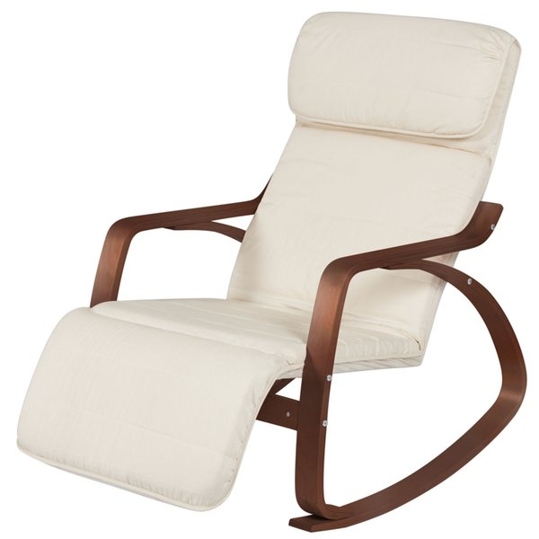 Fabulous 2019 Wood Recliner Rocking Chair W Adjustable Foot Rest White Espresso From Newlife2016Dh 75 38 Dhgate Com Squirreltailoven Fun Painted Chair Ideas Images Squirreltailovenorg