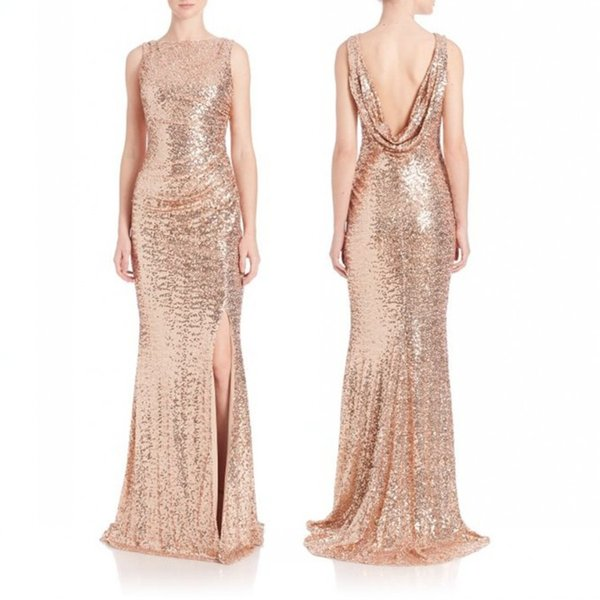 2017 Rose Gold Sequins Thigh High Split Evening Dresses Formal Sexy