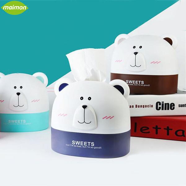 Wholesale- Cute Polar Bear Roll Paper Holder Cartoon Storage Box Home Office Desktop Plastic Tissue Container Hanging Paper Organizer