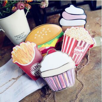5 Stilleri Karikatür Dondurma Messenger Çanta PU Deri Hamburger Omuz Çantası Yaratıcı Patlamış Mısır Kızartması Cupcake Çanta CCA7231 50 adet