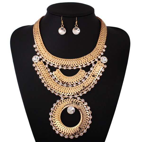 Retro Fashion Exaggerated 18 K Gold Necklace + Earrings Jewelry Set