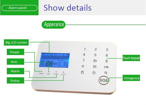 APP remote control sms 99 wireless zones home security alarm system pstn with pir motion detector