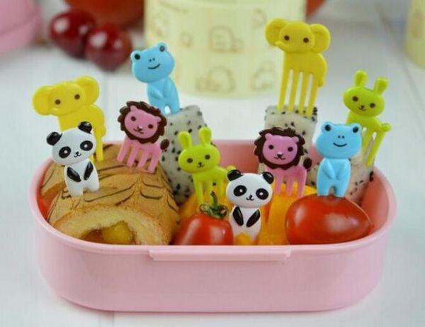Nouveau Arriver 10 pcs / ensemble Animal Farm signe de fourche de fruits de bande dessinée mini signe de résine de fruits cure-dent bento déjeuner pour enfants signe en plastique décoratif
