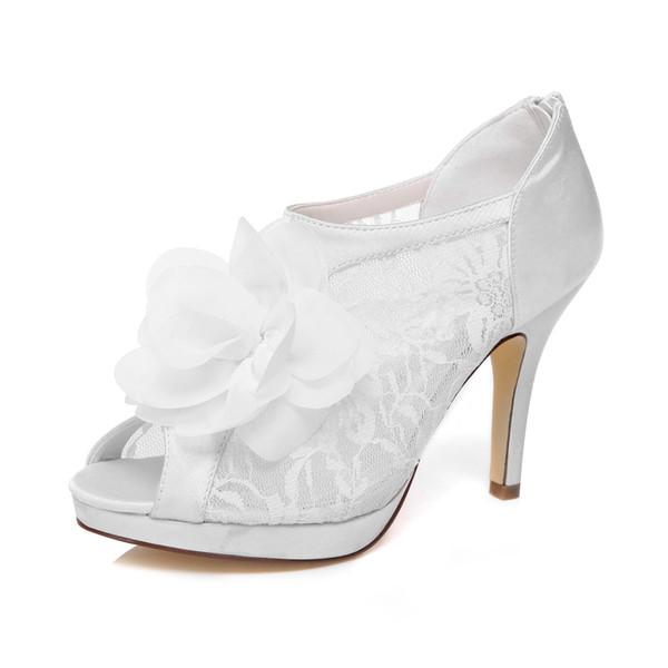 10cm Heel Ivory Color Platform Pump Style Nice Lace Bridal Shoes Wedding Dress Handmade