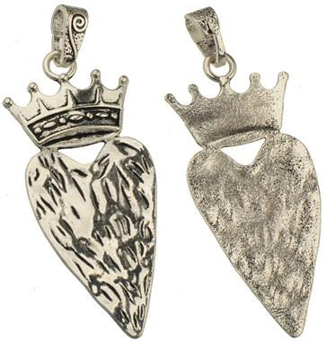 diy large slider pendants for long necklaces single royal crown love heart charms antique silver metal jewelry findings new 92*34mm 20pcs