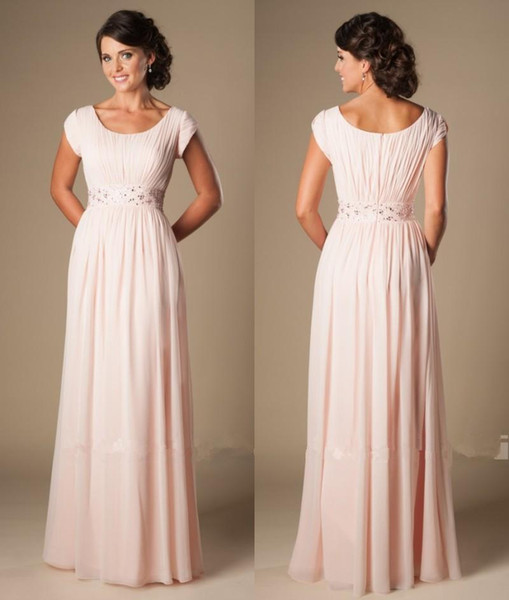 best selling Blushing Pink Long Formal Full Length Modest Chiffon Beach Evening Bridesmaid Dresses With Cap Sleeves Beaded Ruched Temple Bridesmaids Dre