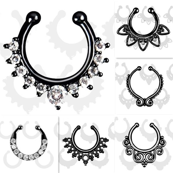 Wholesale-Top quality Fake septum Piercing nose ring Black Hoop nose For Women faux clip Rings clicker non Body Jewelry