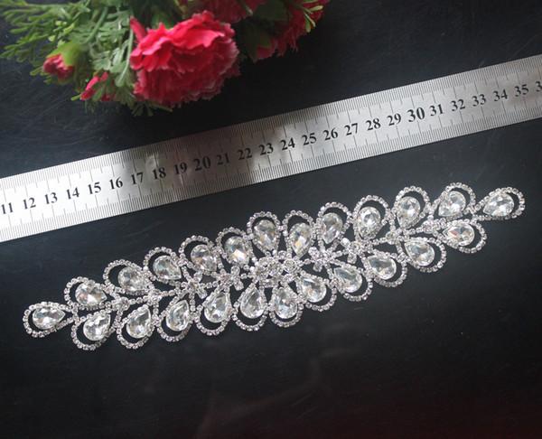 1 pcs strass garniture de mariage mariée coudre sur la robe appliques robe de mariée Sash-Asie-Ivoire satin ceinture ceinture décoration