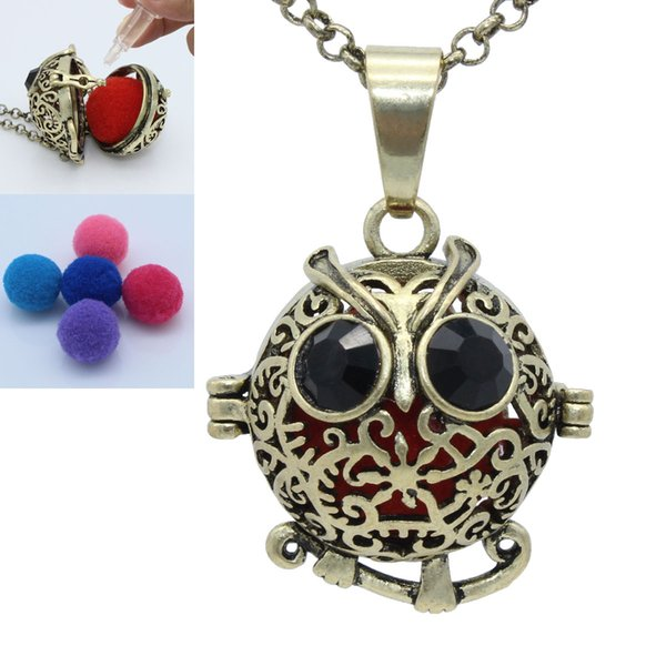 Antique Bronze Owl Flower Hollow Locket Cage For Essential Oil Aromatherapy Diffuser Openable Pendant Chain Necklace Jewelry