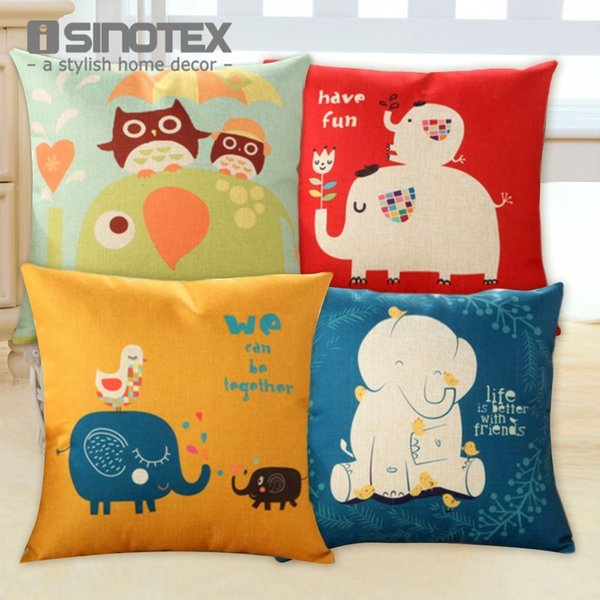 Cute Elephant Cushion Cover Soft Breathable Velvet Sofa Car Decor