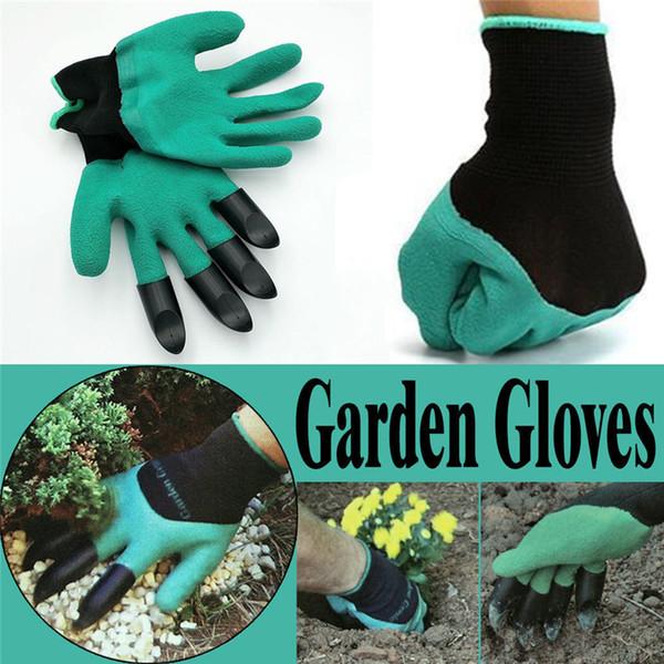 Guantes de jardín Constructores de caucho y poliéster Trabajos de jardinería Guantes de látex 4 Garras de plástico ABS para trabajar en el jardín de casa