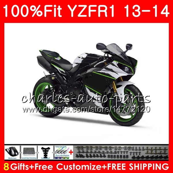 Injection Body For YAMAHA gloss black YZF 1000 YZF-R1 13 14 YZFR1 2013 2014 86NO45 YZF R 1 YZF-1000 YZF1000 YZF R1 13 14 Fairing kit 100%Fit