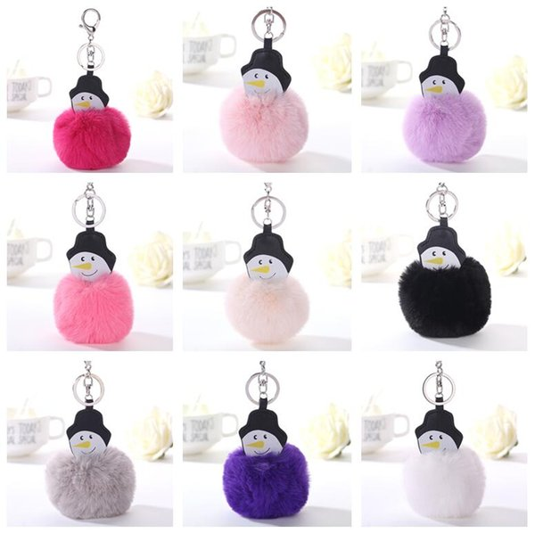 High quality Cartoon snowman hair ball key chain creative accessories bag PU leather pendant KR363 Keychains mix order 20 pieces a lot