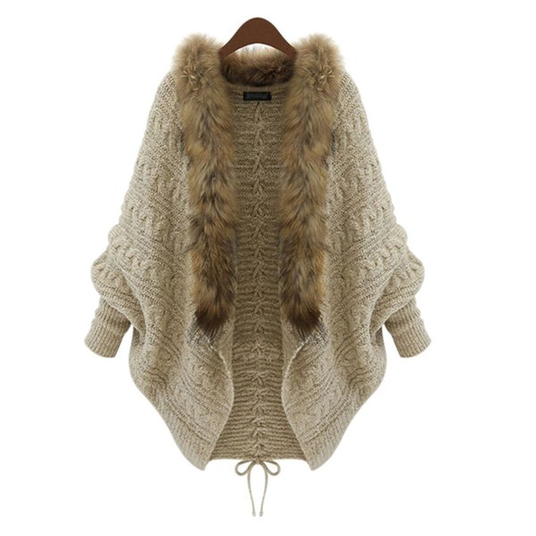 Wholesale-Women Winter Cardigan Thick Poncho Capes Pull Femme Autumn Brand Fashion Knitted Fur Collar Wool Sweater Jacket Bat Sleeve Coat