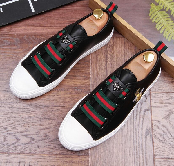 Top Quality Men High Top British Style Causal Luxury Shoes Men Red Gold Black Bottom Shoes D2n10
