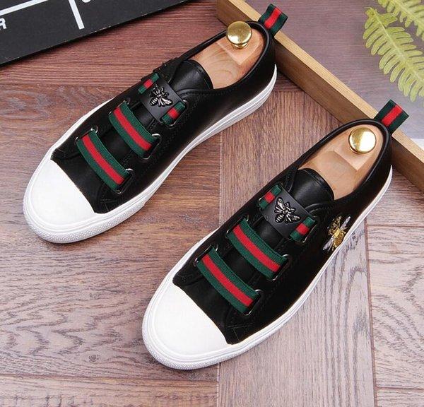 Top Qualité Hommes Haut Haut Style Britannique Causal De Luxe Chaussures Hommes Rouge Or Noir Bas Chaussures D2n10