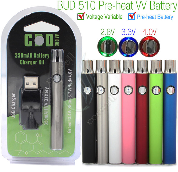 Preheat Battery Kits Preheating 350mAh VV Variable Voltage pre heat mini USB charger CO2 Thick Oil Cartridges Vaporizer 510 O Pen BUD Touch