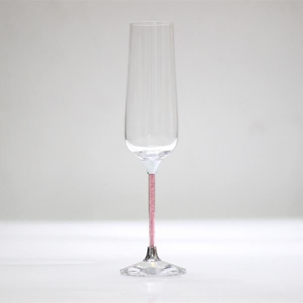 2017 vente chaude cristal rose couleur verres à pied grillage vin verre célébration verres de champagne anniversaire cadeaux coupe en verre de mariage