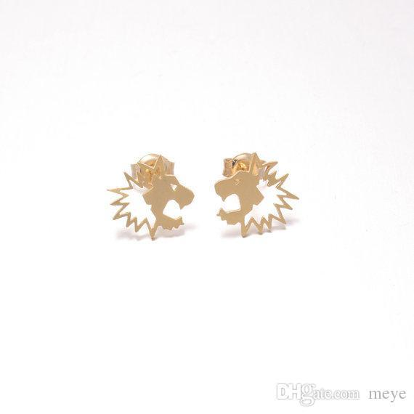 Novelties Boucle D'Oreille Stud Earrings Fresh Lovely Simple Pull Lion Head Animal Ear Female Jewelry Accessories jl-214