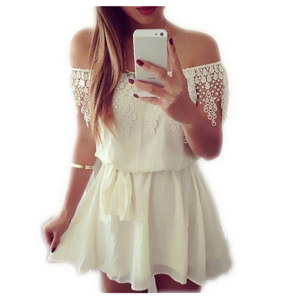 Wholesale-IMC 2016 Fashion Summer Womens Ladies Off the Shoulder Strapless Lace Chiffon Evening Short Mini Dress White
