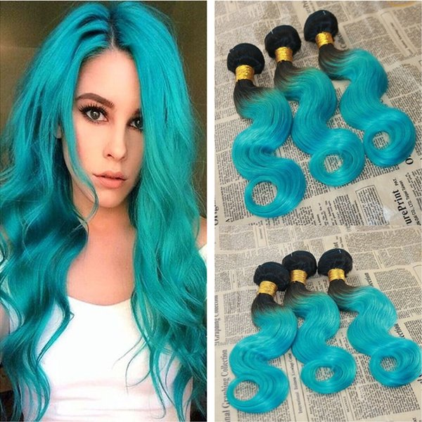 9A Glamorous Brasiliano Two Tone Ombre Capelli Vergini 3 Bundles Lotto # 1B / Blu Radice scura Ombre Wave Wave capelli umani estensioni 10-30 ''