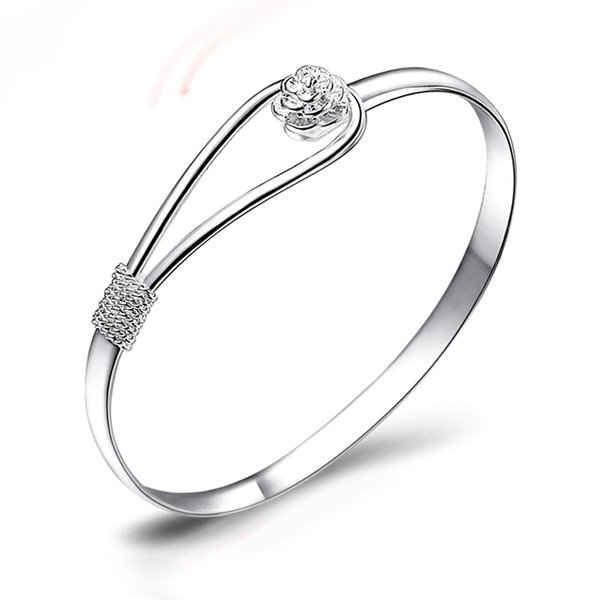 Popular Bracelets 925 silver plated rose flower cuff bracelet fashion bangle for women jewelry bangles Hand vintage charms jewelry