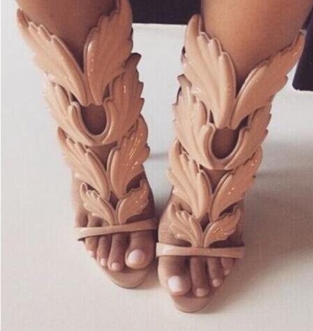 gold/White/Blue leaf flame sandals Newly wings summer women shoes wedge heel lady pumps free shipping