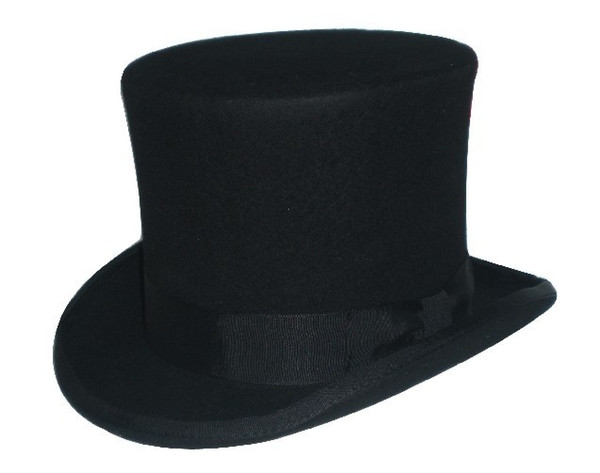 8069b62b545292 Wholesale-3Color Steampunk Hat DIY Mad Hatter Top Hat Victorian President  Traditional Wool Fedoras Hat