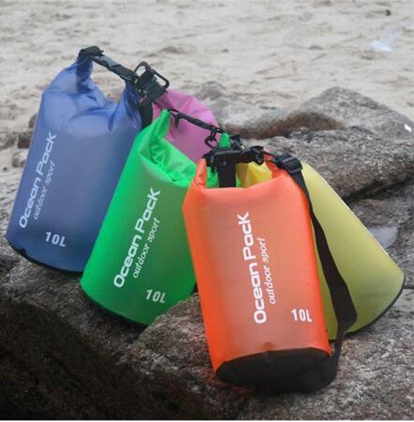 best selling 10L PVC Waterproof Dry Bag travel bucket storage beach bag with Adjustable Shoulder Straps for Boating Kayaking Rafting Folding Bag KKA2226