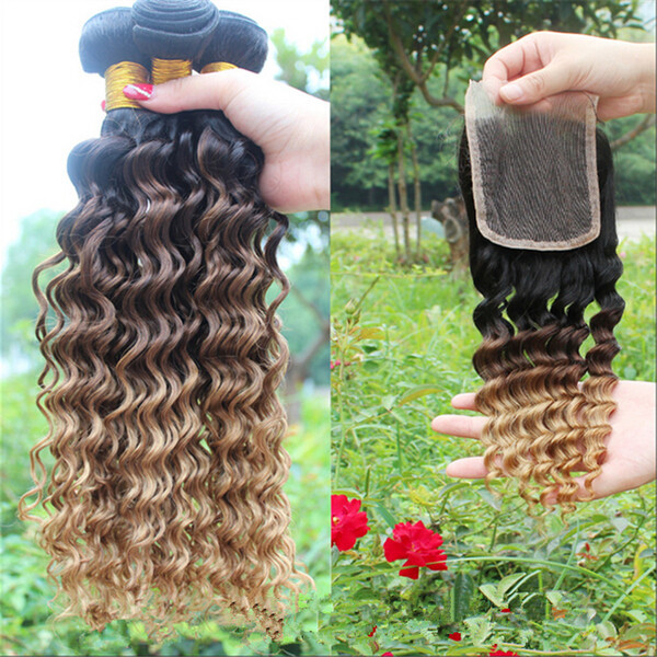 9A Peruvian Ombre Human Hair With Closure #1B/4/27 Honey Blonde Three Tone Ombre 3Bundles With Deep Curly Wave 4x4 Lace Closure