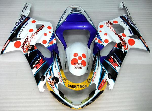 shipping + 8 regalos al por menor vendedor caliente SUZUKI 01-03 Carenado de la motocicleta para GSXR600 GSXR750 2001-2003 AL02 plástico del moldeo por inyección, PUEDE ser