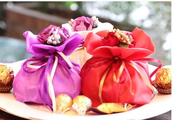 핫 7.5 * 9cm 핸드 부케 쥬얼리 가방 MIXED Organza Jewelry Wedding Party Xmas 선물 가방 Purple Pink red Ivory