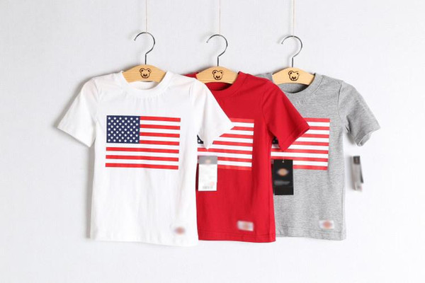 Wholesale Baby Boy Girl American USA Flag White Red Grey Graphic T-shirts 100% Cotton Short-sleeved Polo Cloth Features Patriotic Design