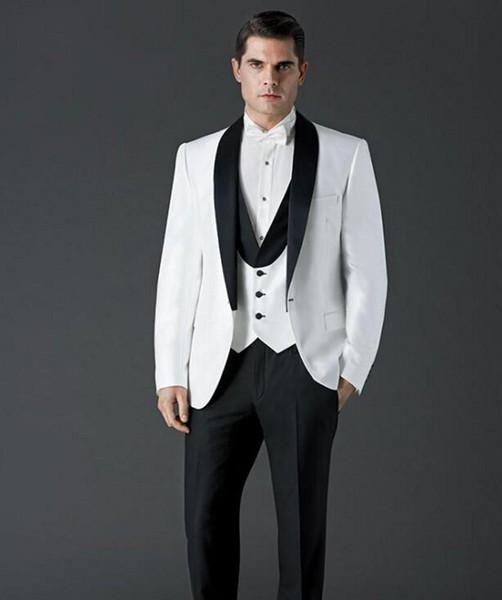 Os recém-chegados Custom Made Um botão de Casamento Ternos Xaile Lapela Smoking ternos Formais Negócios veste Melhor homem ternos (Jacket + Pants + Coletes)