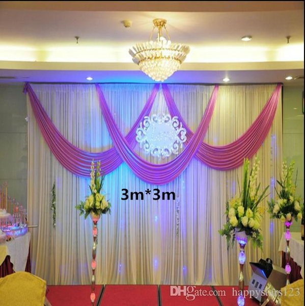 Beautiful White and Purple Ice Silk Wedding Backdrop Curtain 3m*6m(10ft*20ft) Wedding Decorations with Swag Fabric Free Shipping