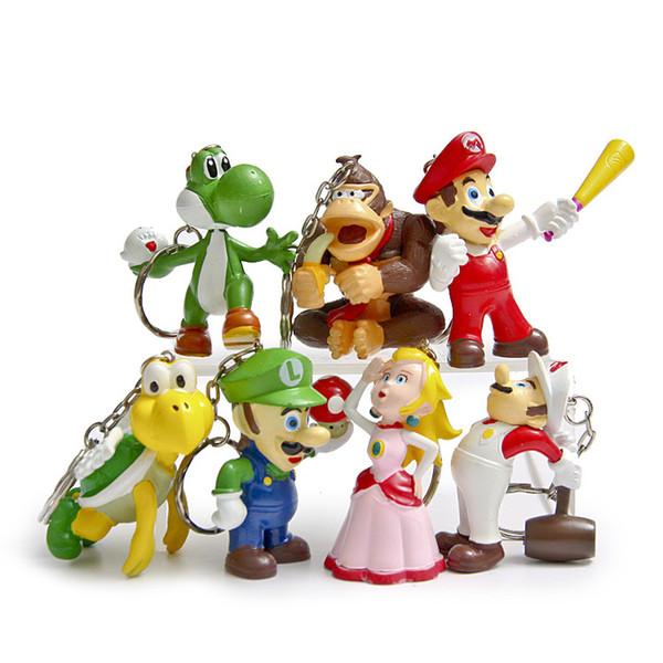 7 pcs. / Lot Classic Super Mario Bros Drawing With Keychain Mario Luigi Peach Yoshi Goomba King Kong PVC Action Toys