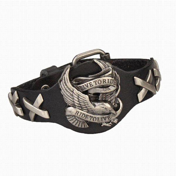 Steampunk Style Men Jewelry Eagle Charm Genuine Leather Bracelet Bangles Jewelry For Men 4 Color Bracelets For Men 2016