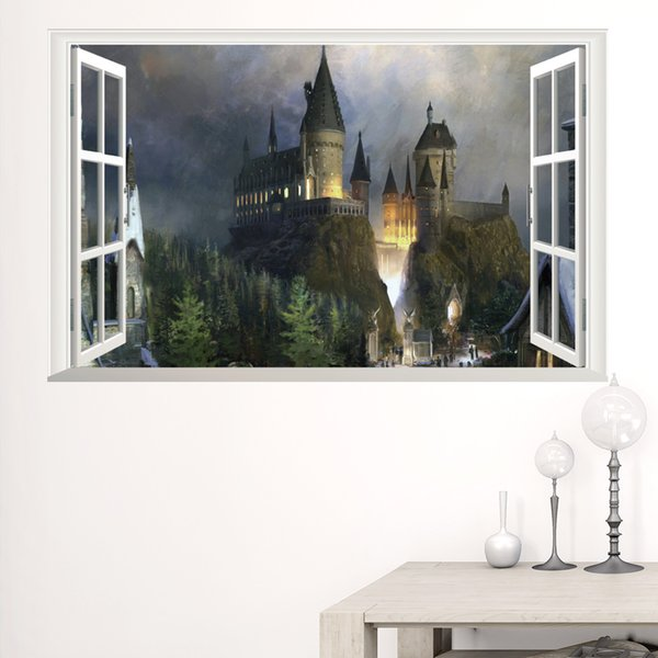 New 3D Windows Ghost Castle Halloween Wall Sticker PVC Festival Wall Decorative Mural Decal for Living Room Bedroom Removable