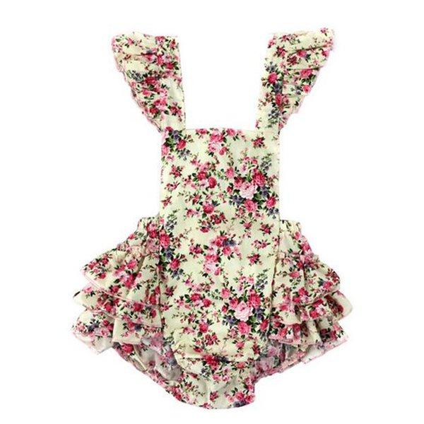 Vintage été tissé Floral bébé bulle barboteur barboteuse manches volants bébé filles Combishort dos nu crossper bébé cltohes