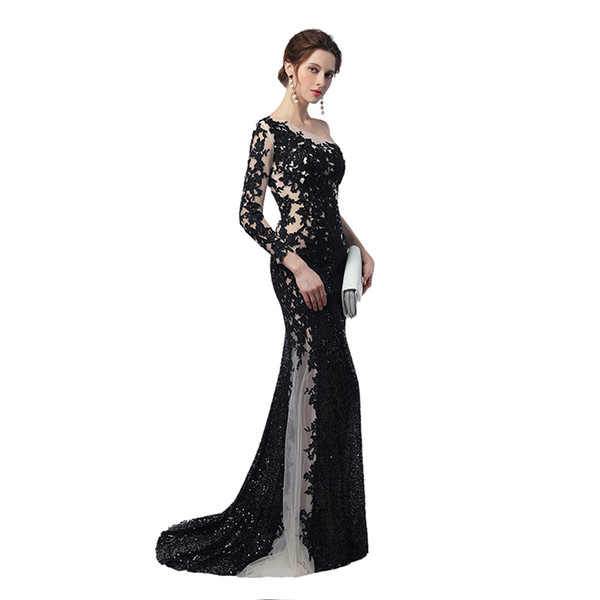 Unique Design Sheer Illusion Mermaid Evening Dresses 2018 Nude Black Sequines Applique One Long Sleeves Celebrity Prom Gowns