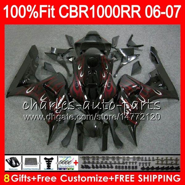 Injection Body For HONDA CBR 1000RR CBR 1000 Red flames RR 06 07 78NO67 100% Fit CBR1000RR 06 07 Bodywork CBR1000 RR 2006 2007 Fairing kit