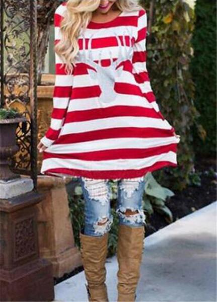 best selling 50pcs Autumn Women's Long Sleeve Print T-Shirt Fashion Christmas Print Mascot T-shirt Dress In the Long Section M099