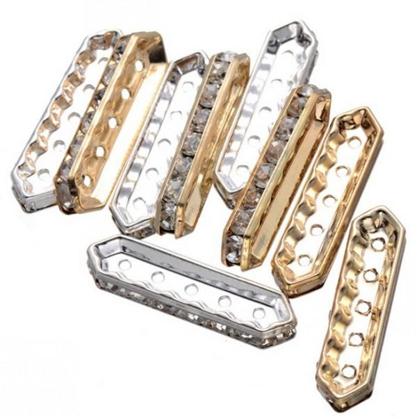 5 hole Spacer beads -fashion rhombus shape with diamond - 200 pieces - Jewellery Making - Multi-Strand Spacer - free shipping