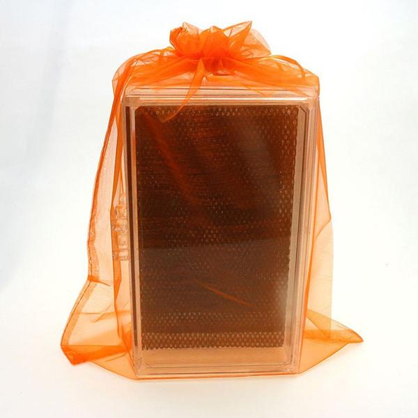 25x35cm Orange Organza Bolsas de regalo de boda Regalos promocionales Logotipo personalizado Bolsa de organza Bolsas de regalo Saco De Tule 100pcs / lot