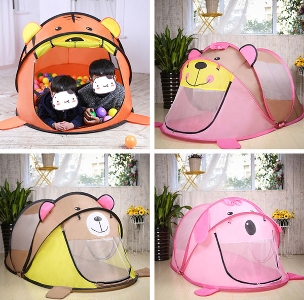 best selling Kid Cartoon Automatic Tent Cartoon Tiger Bear Dog Dollhouse Children's foldable Play Game House Indoor&Ourdoor Tent Big size Ball Pool
