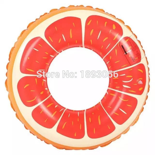 Wholesale- 80cm Inflatable Grapefruit Pool Toy Kid Child Baby Orange Swimming Tubes Water Sport Summer Holiday GIFT Swim Pool Floats Ring
